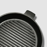 SOGA 2X 26cm Round Ribbed Cast Iron Frying Pan Skillet Non-stick Steak Sizzle Platter with Handle