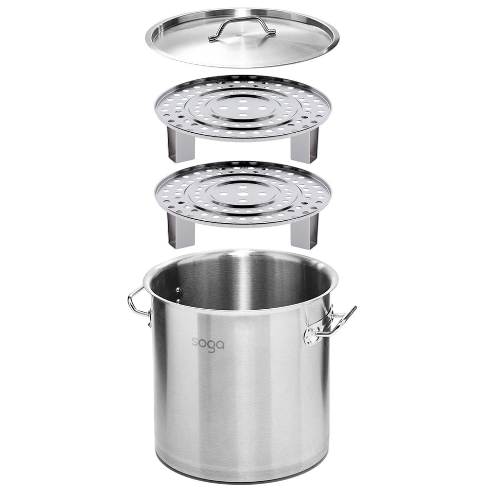 SOGA 45cm Stainless Steel Stock Pot with Two Steamer Rack Insert Stockpot Tray