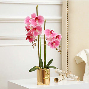 SOGA 2X Pink Artificial Fake Orchid Flower in Copper Metal Vase Set