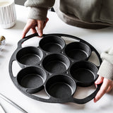 SOGA 2X 32cm Cast Iron Takoyaki Fry Pan Octopus Balls Maker 7 Hole Cavities Grill Mold