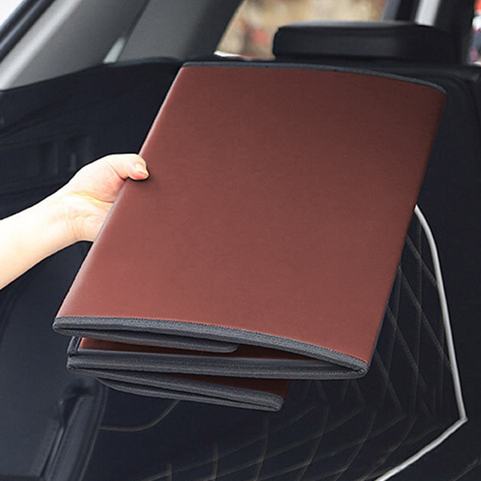 SOGA Leather Car Boot Collapsible Foldable Trunk Cargo Organizer Portable Storage Box Coffee Medium