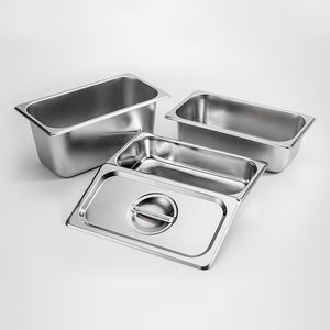 SOGA 6X Gastronorm GN Pan Full Size 1/3 GN Pan 6.5 cm Deep Stainless Steel Tray with Lid