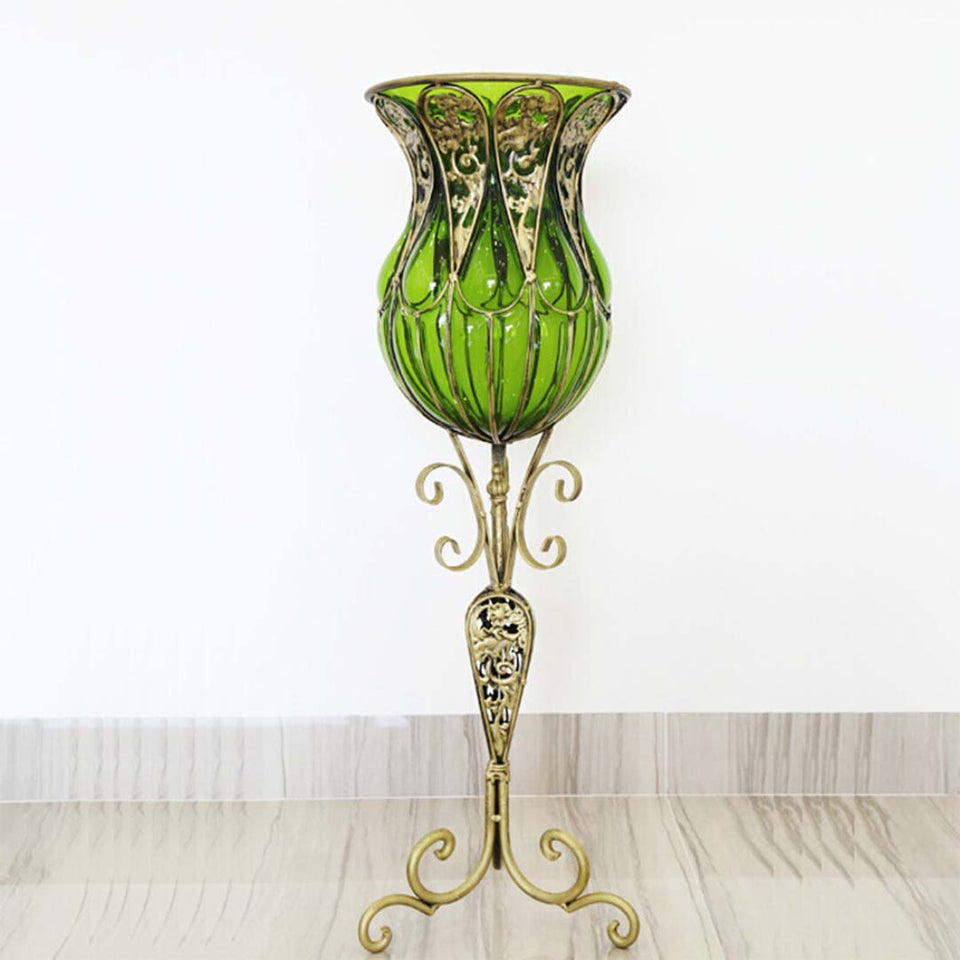 SOGA 85cm Green Glass Floor Vase with Tall Metal Flower Stand