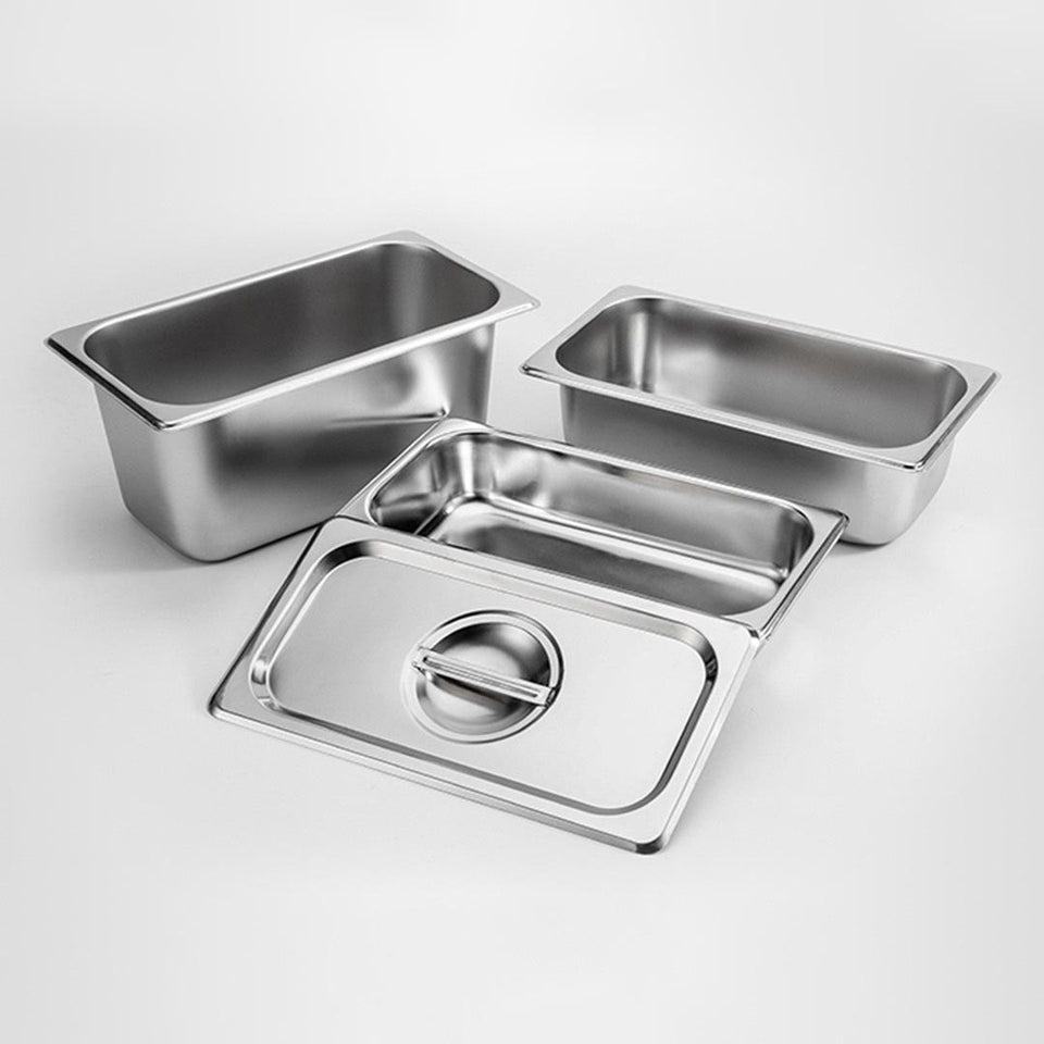 SOGA 6X Gastronorm GN Pan Full Size 1/3 GN Pan 10cm Deep Stainless Steel Tray