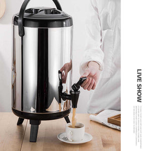SOGA 2 x 10L Portable Insulated Cold/Heat Coffee Bubble Tea Pot Beer Barrel With Dispenser