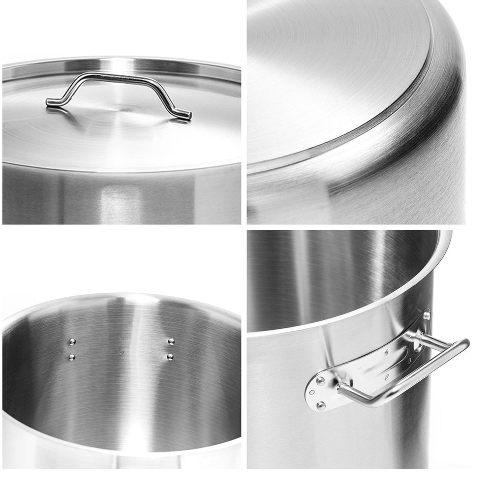 SOGA 30cm Stainless Steel Stock Pot with One Steamer Rack Insert Stockpot Tray