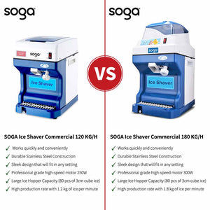 SOGA 2X Ice Shaver Commercial Electric Stainless Steel Ice Crusher Slicer Machine 180KG/h
