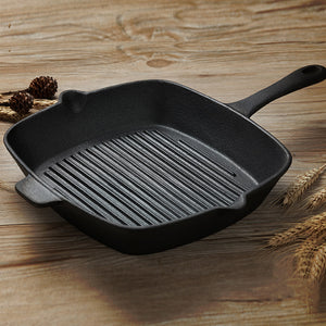 SOGA 26cm Square Ribbed Cast Iron Frying Pan SkilletSteak Sizzle Platter with Handle