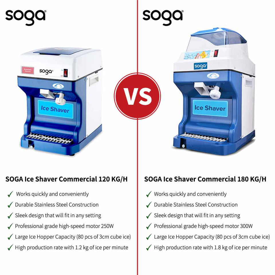 SOGA 2x Smoothie Snow Cone Electric Ice Shaver Machine 120kg/h For Commercial Home Use