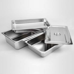 SOGA 2X Gastronorm GN Pan Full Size 1/1 GN Pan 2cm Deep Stainless Steel Tray With Lid