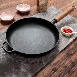 SOGA 2X 25cm Round Cast Iron Frying Pan Skillet Steak Sizzle Platter with Helper Handle