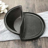 SOGA 2X 2 in 1 Cast Iron Ribbed Fry Pan Skillet Griddle BBQ and Steamboat Hot Pot