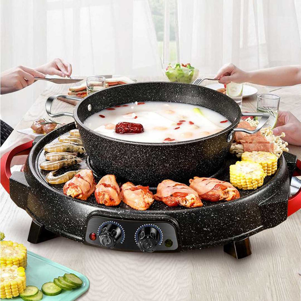 SOGA 2 in 1 Electric Stone Coated Teppanyaki Grill Plate Steamboat Hotpot