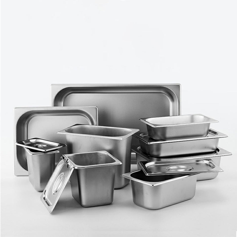 SOGA 12X Gastronorm GN Pan Full Size 1/3 GN Pan 10cm Deep Stainless Steel Tray with Lid