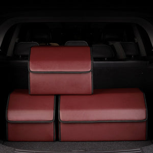 SOGA Leather Car Boot Collapsible Foldable Trunk Cargo Organizer Portable Storage Box Red Small
