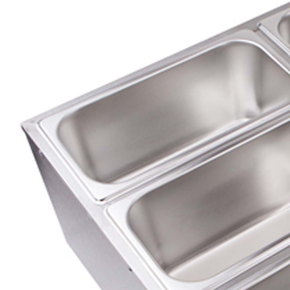 SOGA 2X Stainless Steel 6 X 1/3 GN Pan Electric Bain-Marie Food Warmer with Lid