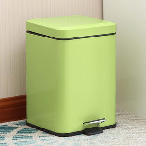 SOGA Foot Pedal Stainless Steel Rubbish Recycling Garbage Waste Trash Bin Square 12L Green
