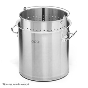SOGA 98L 18/10 Stainless Steel Perforated Stockpot Basket Pasta Strainer with Handle