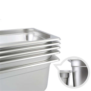 SOGA 2X Gastronorm GN Pan Full Size 1/2 GN Pan 6.5cm Deep Stainless Steel Tray With Lid