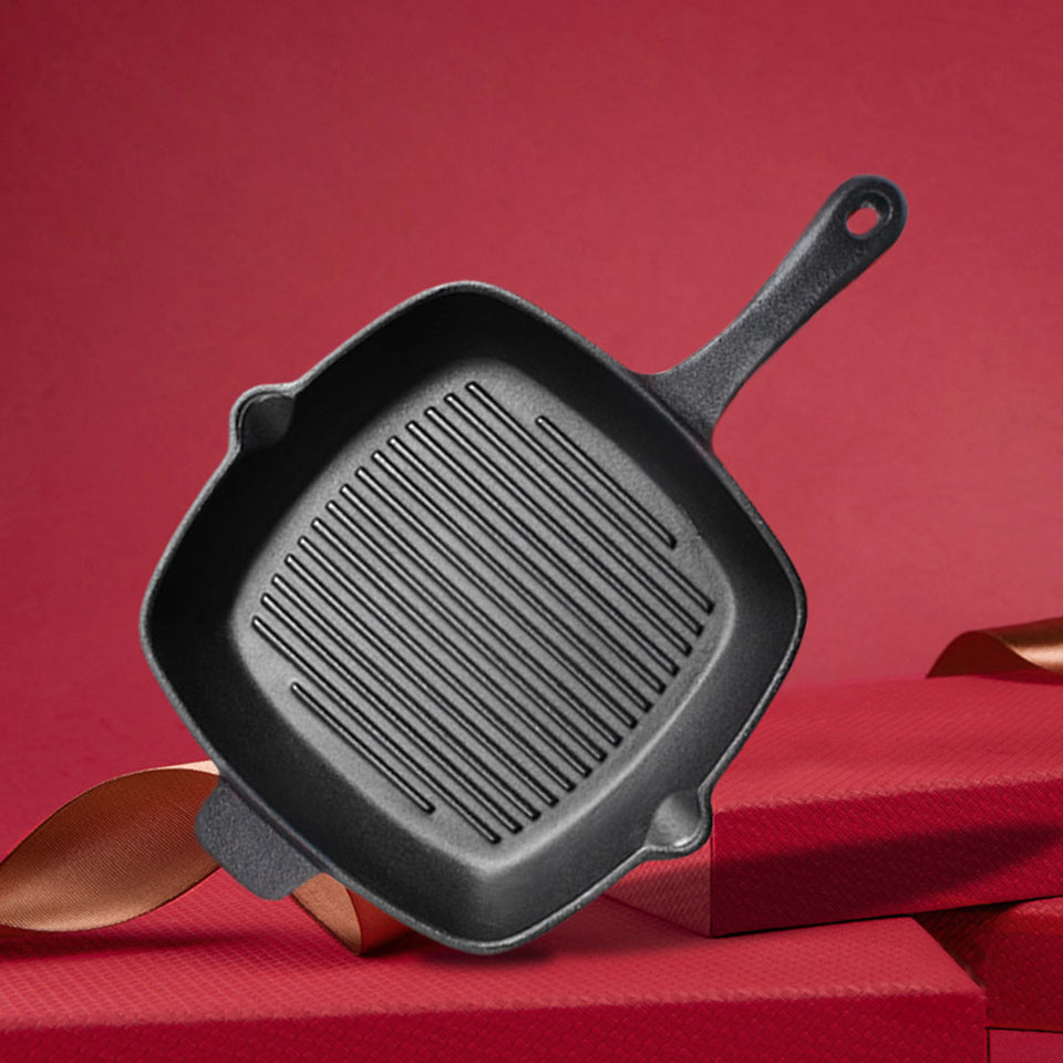 SOGA 2X 26cm Square Ribbed Cast Iron Frying Pan Skillet Steak Sizzle Platter with Handle