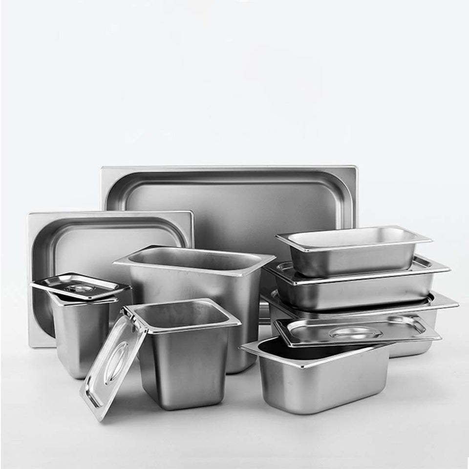 SOGA 12X Gastronorm GN Pan Full Size 1/2 GN Pan 6.5cm Deep Stainless Steel Tray With Lid