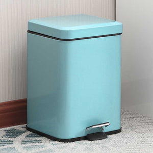SOGA 2X Foot Pedal Stainless Steel Rubbish Recycling Garbage Waste Trash Bin Square 12L Blue