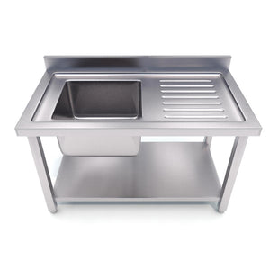 SOGA Commercial Kitchen Sink Work Bench Stainless Steel Food Prep Table 120*70*85cm