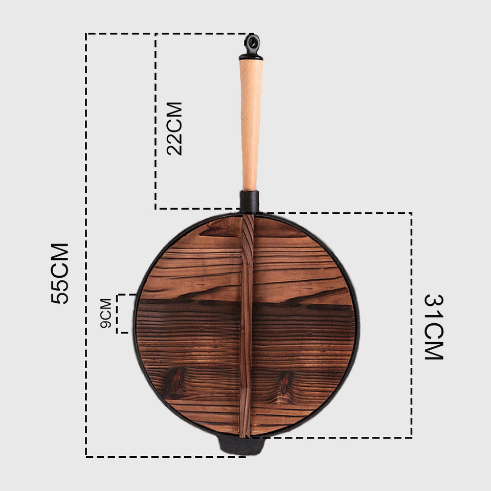 SOGA 2X 31cm Commercial Cast Iron Wok FryPan Fry Pan with Wooden Lid