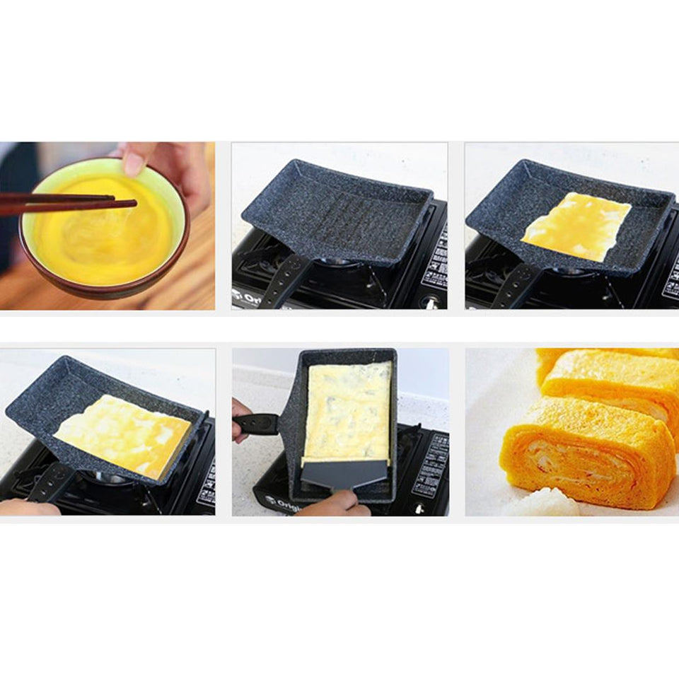 SOGA Marble Coated Omelette Frying Pan Tamagoyaki Korea Egg Fried Egg Roll Fry Pan