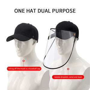 4X Outdoor Protection Hat Anti-Fog Pollution Dust Saliva Protective Cap Full Face HD Shield Cover Adult Black/White