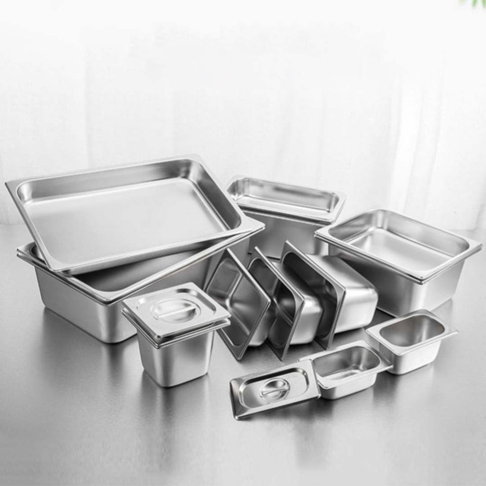 SOGA 6X Gastronorm GN Pan Full Size 1/2 GN Pan 6.5cm Deep Stainless Steel Tray With Lid