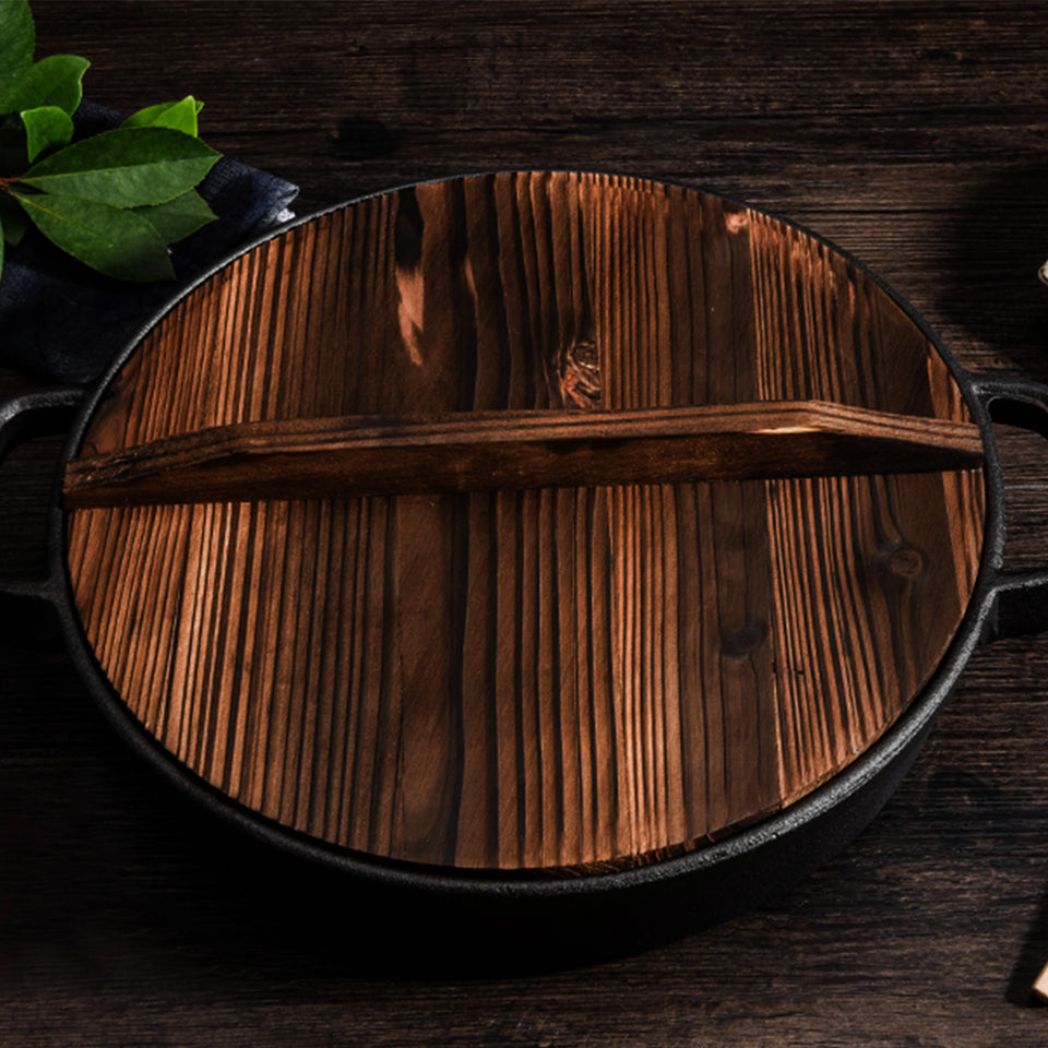 SOGA 31cm Round Cast Iron Pre-seasoned Deep Baking Pizza Frying Pan Skillet with Wooden Lid