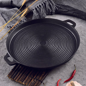 SOGA 40cm Round Ribbed Cast Iron Frying Pan Skillet Non-stick Steak Sizzle Platter with Handle
