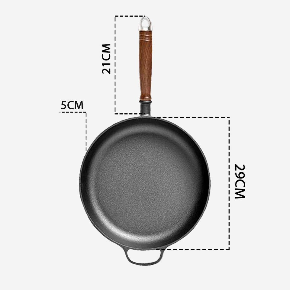 SOGA 29cm Round Cast Iron Frying Pan Skillet Steak Sizzle Platter with Helper Handle