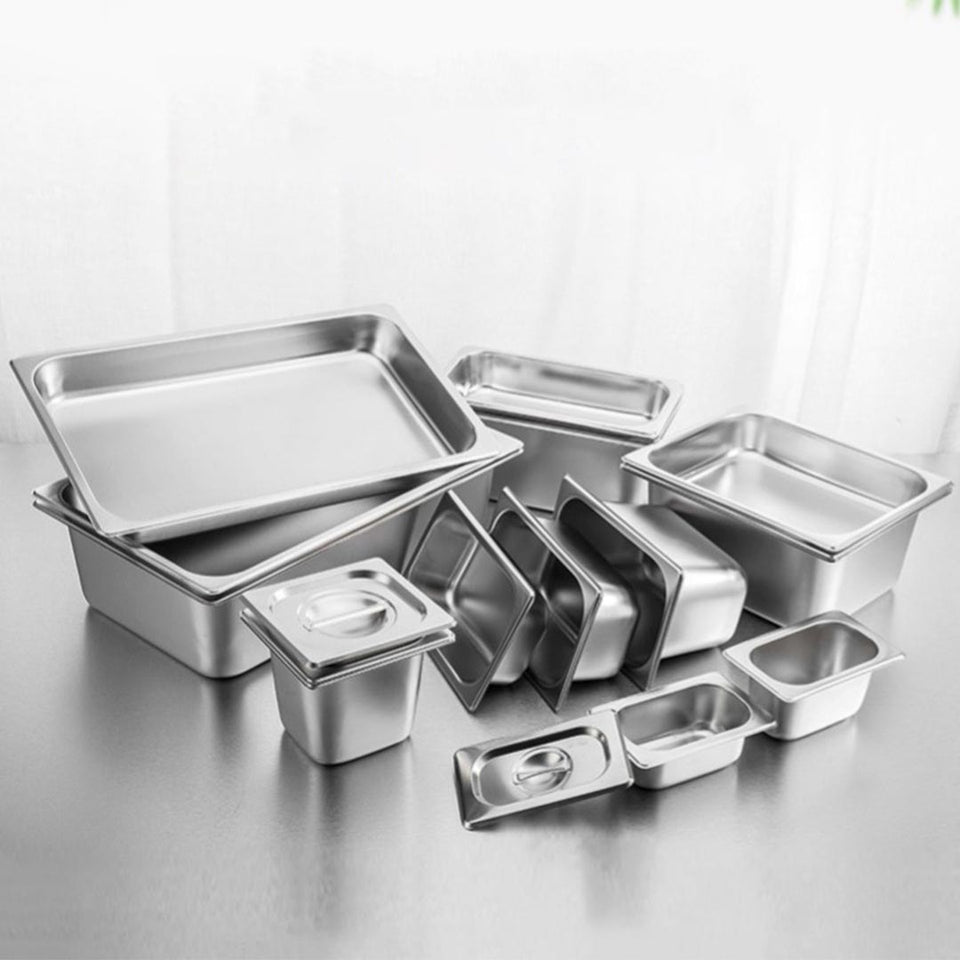 SOGA 6X Gastronorm GN Pan Full Size 1/3 GN Pan 15cm Deep Stainless Steel Tray With Lid