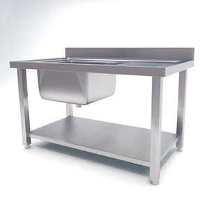 SOGA Commercial Kitchen Sink Work Bench Stainless Steel Food Prep Table 140*70*85cm