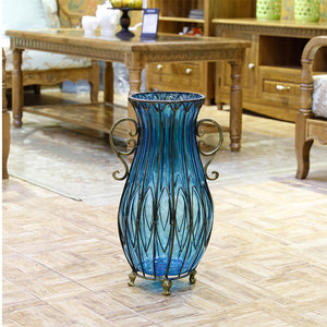 SOGA 51cm Blue Glass Tall Floor Vase with 12pcs Artificial Fake Flower Set