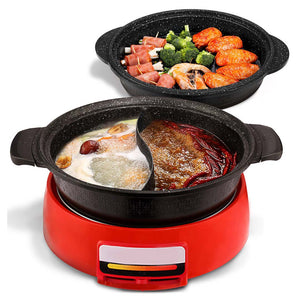 2 in 1 Electric Steamboat Hotpot Teppanyaki Asian Soup Fondue With Division