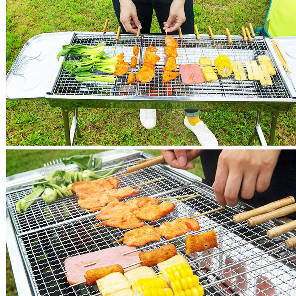 SOGA Skewers Grill Portable Stainless Steel Charcoal BBQ Outdoor 6-8 Persons