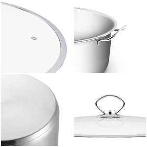 SOGA Stainless Steel Casserole With Lid Induction Cookware 32cm