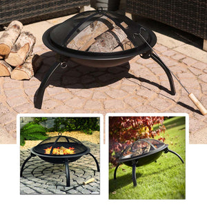 SOGA 2 in 1 Outdoor Portable Fold Fire Pit BBQ Grill Patio Camping Heater Fireplace 56cm