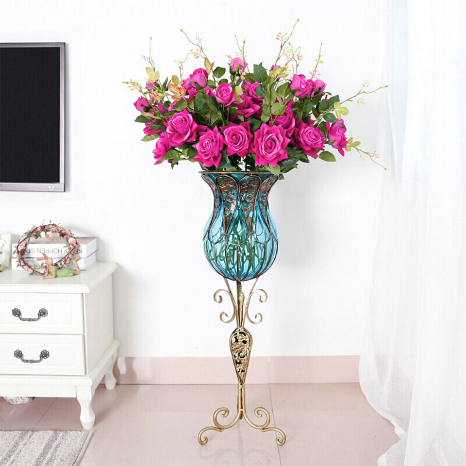 SOGA 85cm Blue Glass Tall Floor Vase and 12pcs Dark Pink Artificial Fake Flower Set