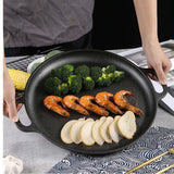 Cast Iron Frying Pan Skillet Non-stick Coating Steak Sizzle Platter 30cm