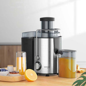 SOGA 2X Juicer 400W Professional Stainless Steel Whole Fruit Vegetable Juice Extractor Diet Chrome