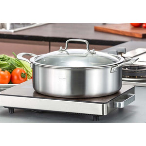 SOGA Stainless Steel Casserole With Lid Induction Cookware 28cm