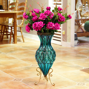SOGA 67cm Blue Glass Tall Floor Vase and 12pcs Dark Pink Artificial Fake Flower Set