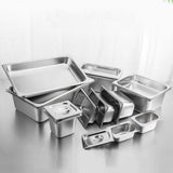 SOGA 2X Gastronorm GN Pan Full Size 1/1 GN Pan 15cm Deep Stainless Steel Tray With Lid
