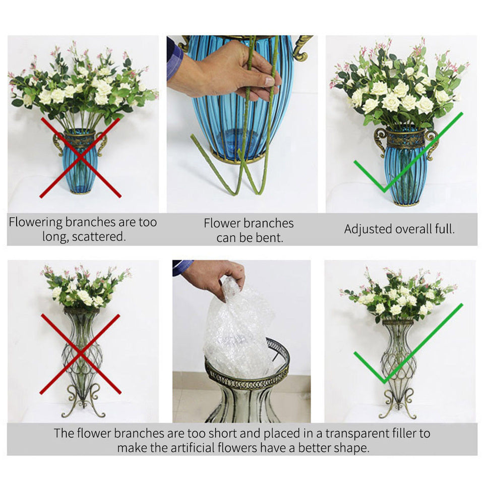 SOGA 67cm Purple Glass Tall Floor Vase with 10pcs White Artificial Fake Flower Set