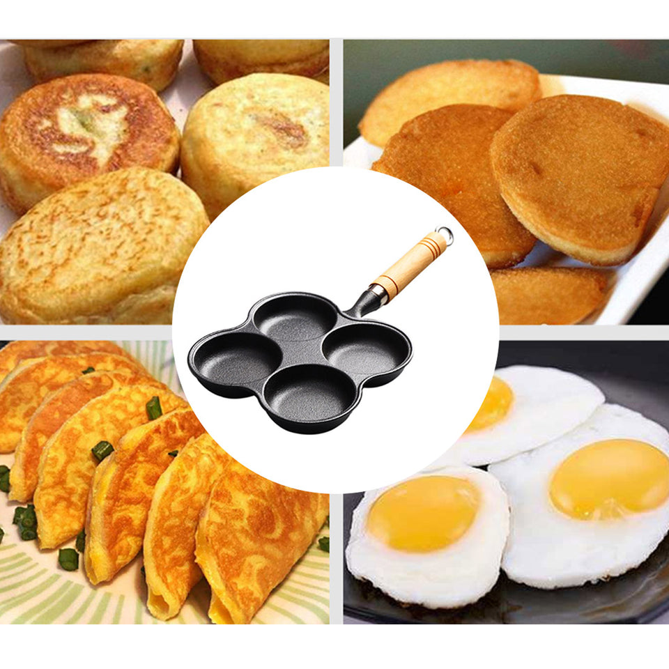 SOGA 2X 4 Mold Multi-Portion Cast Iron Breakfast Fried Egg Pancake Omelet Fry Pan