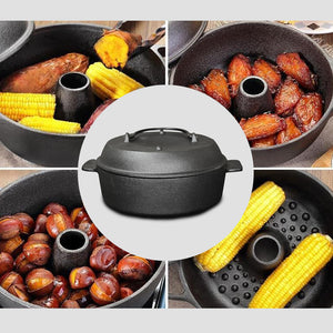 SOGA 28cm Cast Iron Dutch Oven Pre-Seasoned Cast Iron Pot with Lid